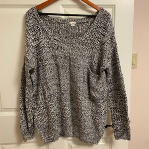 Black and white knit oversize sweater